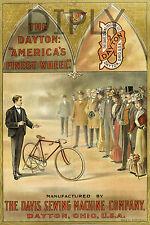 REPRO DECO AFFICHE VELO CYCLE DAYTON AMERICA S WHEEL 1898  PAPIER 310 OU 190 GRS