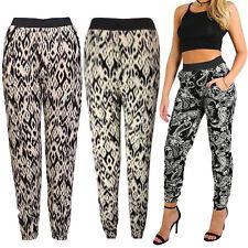 New Womens Ladies Paisley Print Cuffed Bottom Ali-Baba Hareem Trouser Pants 8-26