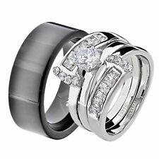 His & Hers White Stainless Steel Princess CZ Wedding Set Tungsten Men Band JY