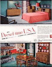 Drexel Biscayne Furniture PEASANT PROVINCIAL Bedroom Set DINING 1954 Print Ad