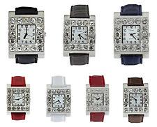 Urban Women's Silver Diamante White Face PU Leather Strap Watch Analog Quartz
