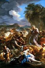 MOSES STRIKING THE ROCK BIBLICAL ITALIAN PAINTING BY CORRADO GIAQUINTO REPRO