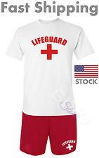 Lifeguard SET Shirt & Shorts Men's YMCA Pool Staff Athletic Lifesaver Swimming