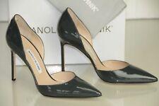NUEVO MANOLO BLAHNIK TAYLER 105 BB Gris Oscuro Zapatillas Charol DORSEY Zapatos