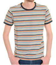 mens new 60's/70's vintage retro mod style striped navy trim ringer t shirt