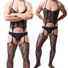 Mens Lace Body stocking Bodysuit Sissy Gay Crossdresser Garter Pantyhose Costume