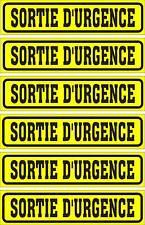 LOT DE 6 AUTOCOLLANTS LUSTRÉ, SORTIE D'URGENCE, POUR INTÉRIEUR OU EXTÉRIEUR