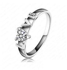 Bague, alliance Love sertie d'un coeur en zirconium, multi tailles.