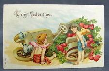 Antique Postcard Valentines Day To My Two Cherubs Upset  Broken Down Heart Car