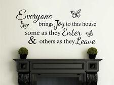 Tutti portano gioia IN QUESTA CASA..., Muro ARTE Citazione, Decalcomania, moderno di trasferimento