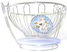 Fruit Bowl Basket Round Plastic Plate Hanging Metal Chrome Home Kitchen Storage