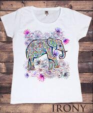 Da donna T-shirt Bianca Stile etnico Elephant con loto Stampa Floreale 30-19