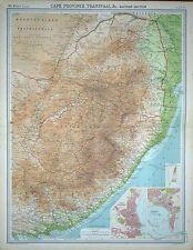 "1920 LARGE MAP ~ SOUTH AFRICA EASTERN SECTION PORT ELIZABETH & DURBAN 23"" x 18"""