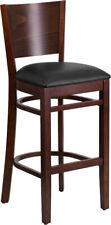 Lacey Series Solid Back Walnut Wood Restaurant Barstool - Vinyl Seat - XU-DG-...