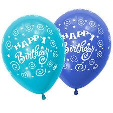 Quality Latex Party Balloons Boys Light & Dark Blue Happy Birthday Balloons