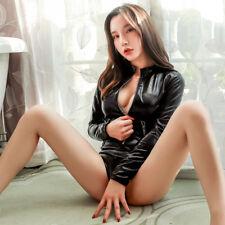 Women Sexy PU Leather Bodysuit Wet-Look Leotard Jumpsuit Catsuit Clubwear Romper