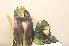 Belles Dames Paillettes Brillantes Rayures Été Foulard Hijab Étole Cou