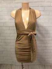 Beige Multi-way Dress Halter Cross Back Mini Sexy Party Dress