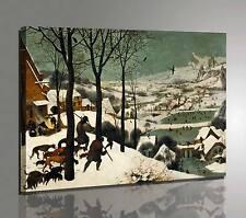 Quadro Bruegel Cacciatori nella Neve Stampa Fine Art su Tela Vernice Pennellate