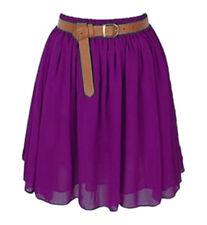 Violet Red Women Girl Chiffon Short Mini Dress Skirt Pleated Retro Elastic Waist