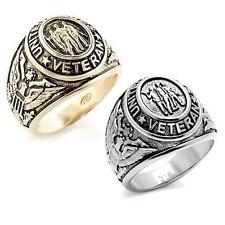 USA War WW2 Iraq Gulf Korean Vietnam Veteran Rings - Silver & Gold Military Ring