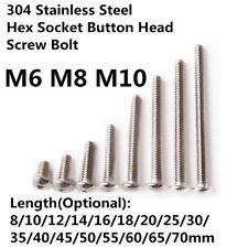 304 Stainless Steel Hex Socket Button Head Screw Bolt M6 M8 M10 Length 8mm-80mm