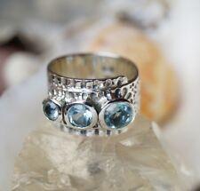 Silberring 53 55 Blautopas Hellblau Silber Ring Modern Breit Massiv Hammerschlag