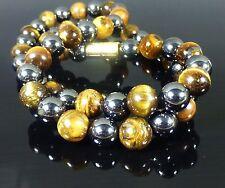 Magnetic Hematite Tigers Eye Necklace Bespoke, 8mm Gemstone