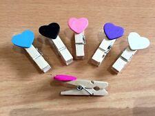 18 Pack Mini Small Wooden Love Heart Pegs Peg Pink Black Blue White Purple 4cm