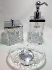 HOTEL BALFOUR Soap Dish - Lotion Dispenser-Cotton ball Qtip jar Accessory Clear