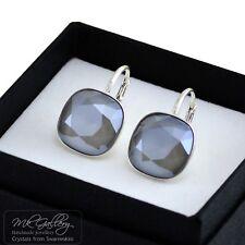 10/12Mm Fancy Stone - Dark Grey 925 Silver Earrings Crystals From Swarovski®