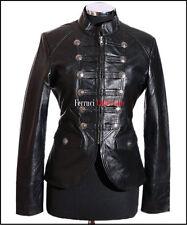 Scarlett Schwarz Damen Damen Shorts Echtes Weiches Lammfell Leder Militär Jacke
