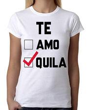 Junior's Te Amo Te Quila White T-Shirt Mexico Funny Cinco De Mayo Drink  B594