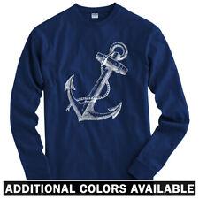 Anchor Long Sleeve T-shirt - LS Men S-4X - Gift Hipster Nautical Marine  Navy
