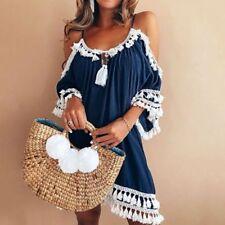 454579fa71 Women Beachwear Swimwear Tassel Bikini Cover Up Summer Kaftan Sarong Beach  Dress