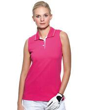 Womens Ladies Plain PINK Sleeveless Cotton Tennis Sports Polo Shirt Size 8-20