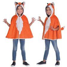Kids Boys Girls Red Fox Hooded Cape Animal Wild Fancy Dress Book Week Costume