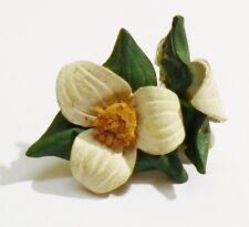 boucles d'oreilles pas de vis ancienne fleur en cuir vert bijou vintage * 3143