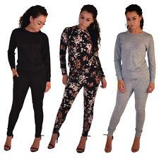 Womens Ladies Loungewear Set Sweatshirt Joggers Fine Knit Tracksuit Pants UK