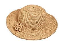 RAFFIA SUN HAT crochet straw floppy packable trek festival Madaraff fair trade