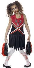 Zombie Monster Cheerleader Girls Kids Teen Halloween Fancy Dress Costume 7-14