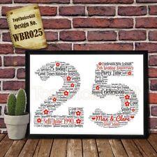 25th Wedding Anniversary Personalised Present Print wordart greeting poster gift