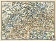 SCHWEIZ Alpen Tessin Wallis Uri LANDKARTE von 1897