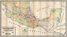 1896 Map Mexico Carta de Comunicaciones Wall Art Poster Print Vintage History