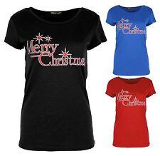 New Ladies Merry Christmas Slogan Print Tops 8-22