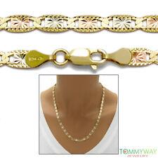 "10K Yellow Gold Tri-Color Valentino Chain Necklace 4mm 16""-24"""