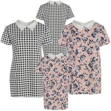 New Ladies Plus Size Tartan Floral Collar Swing Dress 16-26