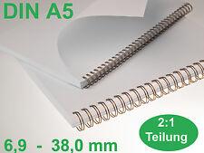 RENZ Drahtbinderücken, Teilung 2:1 DIN A5  / 6.9 - 38.0 mm - Farben zur Auswahl