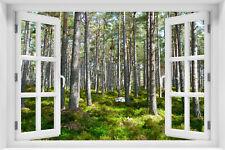 3D Wandillusion Wandbild FOTOTAPETE Fensterblick Landschaft Natur Wald kr-las-8