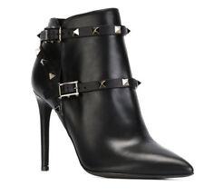 Sexy Rivet Buckle Ankle Boots Women High Heels Stilettos Leather Shoes Plus Size